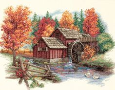 Counted Cross Stitch Patterns-Choices For Every Occasion. #cross stitch  A beautiful country scene with a water wheel, during the fall.