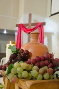Communion Centerpieces, Altar Decorations, Corpus Christi, First Communion, Holi, Fruit, Table, Easter, Church Altar Decorations