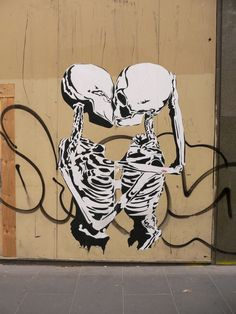 Kissing skeletons wheatpaste found in Elizabeth Street, Melbourne. This amazing wheatpaste is over eight feet high