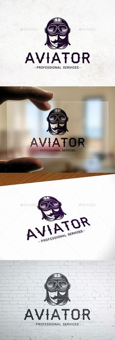 Aviator Head Logo Template #online #internet  • Download here → https://graphicriver.net/item/aviator-head-logo-template/21029183?ref=pxcr