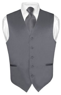 Men's CHARCOAL GREY Tie Dress Vest NeckTie Set for Suit or Tuxedo