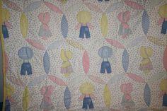 Sunbonnet Sue Overall Sam Handmade Panel Quilt Pastel Calico Gingham Baby Blanke #Handmade #SunbonnetSue #BabyQuilt #Calico #Gingham #LittleDutchGirl #LittleDutchBoy