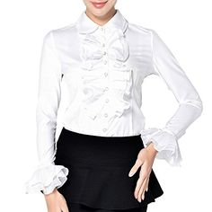 Button Down Shirts For Women Leotards Lotus Ruffle Design YZ YZ40 S YZ40White ** Continue to the product at the image link.