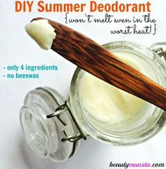 Make your own DIY deodorant that doesn't melt this summer with only 4 ingredients! I've been DIYing many of my health and beauty products for quite