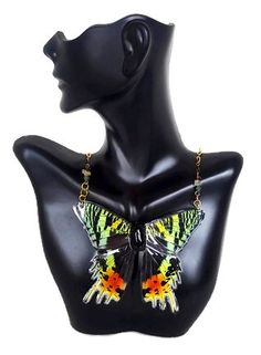 Real Butterfly Wing Necklace. Aurora Butterfly Wing Jewelry AURUMSU