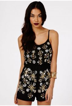 Gibona Embellished Strappy Playsuit - Jumpsuits & Playsuits - Clothing - Missguided