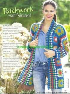 Crochet Granny Square Vest Posts 36 New Ideas Point Granny Au Crochet, Gilet Crochet, Crochet Coat, Crochet Cardigan Pattern, Crochet Jacket, Crochet Squares, Granny Squares, Crochet Shawl, Crochet Clothes