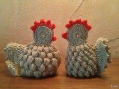 Handmade by Ecola & Dana Art - Wielkanocne kurki Easter Crochet, Rooster, Diy And Crafts, Sewing, Paste, Handmade, Crocheting, Amigurumi, Cross Stitch
