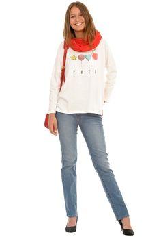 Camiseta blanca algodon globos y vaqueros amichi. www.amichi.es