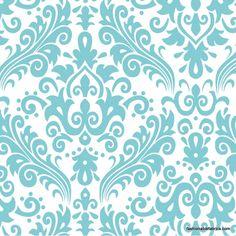 Fabric... Hollywood Large Damask Aqua on White by Riley Blake Designs