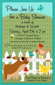 Going with a barnyard theme for your shower?  We have just the invitation for you! www.delightinvite.com