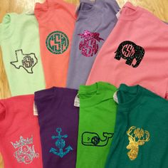 you can't go wrong with these $16 monogrammed tees! over 60 tee shirt colors and so many fonts and shapes for the monogram! Can even be printed in glitter! So preppy and perfect for all occasions. Great birthday gifts too! Check these adorable monogrammed tees at Courtney's Custom Creations! www.CourtneysCC.com