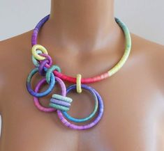 Textile Statement Necklace Cosmos by fiber2love on Etsy, $68.00