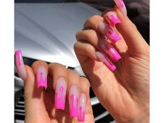 Ideas for Kylie Jenner Drip Nails. Check out our nails selection for the very best in unique or custom Kylie Jenner Drip Nails. Drip Nails, Dipped Nails, Gel Nails, Nail Polish, Pink Nails, Ongles Kylie Jenner, Kylie Jenner Nails, Manicure E Pedicure, Pedicures