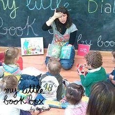"""Cuentacuentos-taller en """"Los cinco lobitos"""" de Parla, para presentar las cajas de @mylittlebookbox http://www.mylittlebookbox.com/tienda/detalle/diablote-retail-unidad/"""