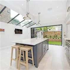 Browse thousands of interior and exterior images from Farrow & Ball. Be inspired with stunning home decor images and design ideas for your home. House Extension Design, Extension Ideas, Kitchen Decor, Kitchen Design, Kitchen Ideas, Farrow And Ball Kitchen, Grey Shaker Kitchen, Paint For Kitchen Walls, Light Grey Walls