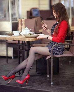 Great Legs, Beautiful Legs, Gorgeous Women, Pantyhose Outfits, Pantyhose Heels, Black Pantyhose, Mode Outfits, Sexy Outfits, Fashion Outfits