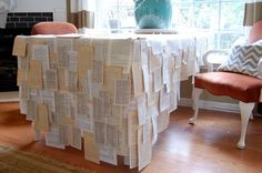 Ideas Craft Paper Table Runner Wedding Book Pages New Crafts, Paper Crafts, Diy Paper, Paper Tablecloth, Music Themed Parties, Book Page Crafts, Book Table, Wood Wall Decor, Backdrops For Parties