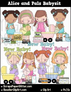 Alice Pals Babysit Clip Art, Commercial Use, Clipart, Digital Image, Png…