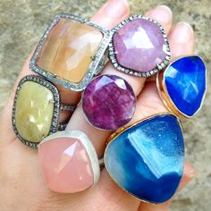 geometric gemstone rings in all shapes and sizes