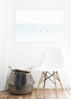 Large minimalist color art print of surfers waiting for waves. TITLE: Waiting No. 8 SIZES: 10x15, 20x30, 30x45, 40x60 Original fine art photograph printed with archival inks on white museum quality ac