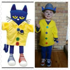 DIY Pete The Cat - Groovy Buttons Costume. Great for story time character dress up day at school...