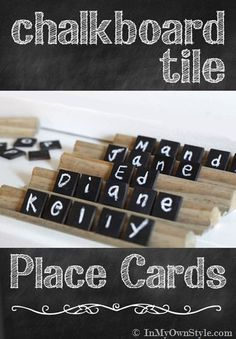 Chalkboard Tile Place Cards & Holders - In My Own Style