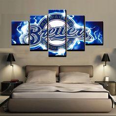 5 Piece Milwaukee Brewers Logo Baseball Canvas Wall Art Painting Frames Modern Canvas Art, Canvas Wall Art, Wall Art Prints, Canvas Prints, Brewer Logo, Baseball Canvas, Frames For Sale, Home Decor Paintings, Milwaukee Brewers