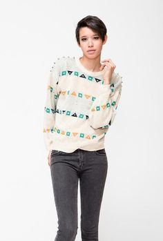 Geometric Pullover Sweater with Studs  -- found on BIBANDTUCK.COM #VanityProjects