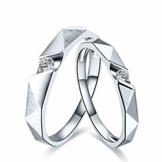 Texture Full 18K White Gold Plated Silver Couple Rings