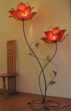 One of the best object to be used in your home is the lamp. A lamp is not only awesome for your home lighting but also a good stuff to design and decor yourWe sell beginner-friendly DIY lamp kits and accessories so you can make a custom light fixture that Lampe Art Deco, Flower Lamp, Flower Lights, Butterfly Lamp, Stained Glass Lamps, Interior And Exterior, Sweet Home, Room Decor, House Design