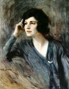"""Portrait of Clara C. Gabrilovisch, Paris 1918, by Polish painter Tadeusz """"Tade"""" Styka"""