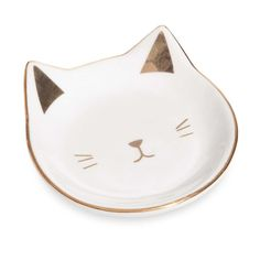 Coupelle à bijoux en céramique blanche et dorée CAT