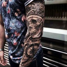 Black Crown Tattoo With Skull And Compass On Sleeves For Guys