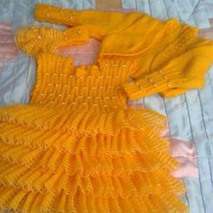 Sarı kız çocuk örgü bolero elbise