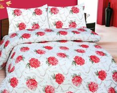 ATL's 100% Cotton Duvet Cover in Red Rose Design Bedding Set Includes Duvet cover, Pillow Case and Fitted Sheet (Double)