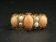 Antique 18 Carat Gold Coral & Pearl Ring Circa by CJAntiquesLtd