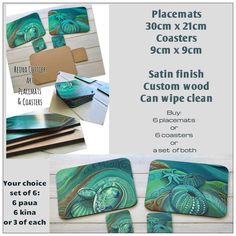 Reina Cottier Art Ocean themed Placemats & Coasters. Paua (Abalone) & Kina (Sea Anemone) seabed, beautiful greens /blue/turquoises looks amazing on the table! Contact Reina for ordering. Use Contact tab onn website : www.reinacottier.com