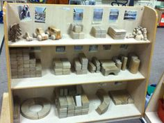Part of our block play storage (photos to support children in tidying the area) Classroom Organisation, Classroom Design, Early Years Maths, Reception Class, Maths Area, Eyfs Classroom, Continuous Provision, Foundation Stage, Block Center