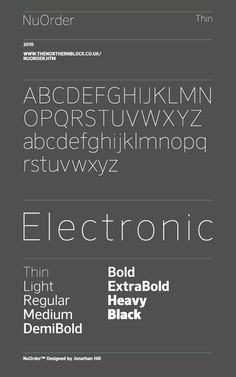 A modern sans-serif typeface. Geometric forms taken from early grotesque styles are combined with humanist elements to create a precise and legible typeface. Details include 9 harmonious weights with italics, a complete character set, manually edited kerning and Euro symbol.