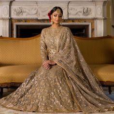 Gold Full Sleeves Reception Lehenga by Poonams Kaurture. #Frugal2Fab Latest Bridal Dresses, Asian Bridal Dresses, Asian Wedding Dress, Wedding Dresses For Girls, Bridal Outfits, Designer Wedding Dresses, Party Outfits, Indian Bridal Fashion, Pakistani Wedding Dresses