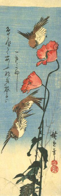 Utagawa Hiroshige Japanese, 1797-1858 Kawaguchiya Shozo, publisher Japanese Tree Sparrows and Poppies (Keshi ni suzume), 1850's