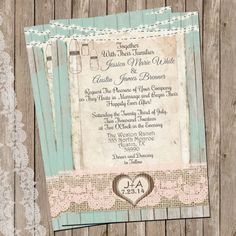 Mint and Peach, Burlap and Lace Wedding Invitation, Rustic, Wood fence,  Printable, Digital File, Personalized, 5x7, on Etsy, $15.00