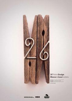 Prêmio Design, think this is actually a poster, but I would like to make giant pins like this for my house number.  Reclaimed wood from pallets, maybe?