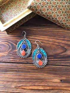 Nepal massive turquoise earring, Tibetan lapis lazuli and coral earrings, Mexico tribal ethnic, bohe Turquoise Earrings, Boho Earrings, Turquoise Jewelry, Turquoise Cuff, Vintage Turquoise, Tribal Jewelry, Bohemian Jewelry, Tibetan Jewelry, Lapis Lazuli Jewelry