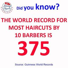 The most consecutive haircuts by a team in 8 hours is 375 and was achieved by Wesley Mission with the support of Just Cuts Schwarzkopf Professional (both Australia) at Martin Place in Sydney Australia on 6 August 2013. #jerseyclippers #didyouknow #jerseycity #jersey @barbershopconnect @barbersinctv @barbershopplug @national_barbers_association @officialbarberclub @nastybarbers #guinnessworldrecords @sharpfade