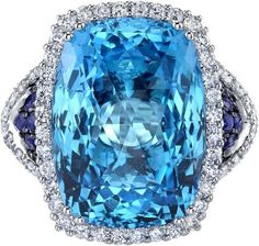 Ice 17.50 carats Swiss Blue Topaz Diamond and Sapphire Ring 14K White Gold