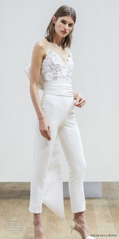 oscar de la renta spring 2018 bridal strapless sweetheart neckline heavily embellished bodice sophiscated jumpsuit wedding dress ribbon back (08) mv -- Oscar de la Renta Spring 2018 Wedding Dresses