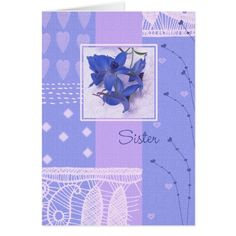 For Sister on Mother's Day. Spring Flower Design Mother's Day Greeting Card for Sister. Matching cards and products available in the Holidays / Mother's Day Category of the Mairin Studio store at zazzle.com