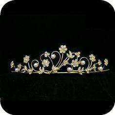 Gold Bridal Prom Wedding Crystal Pearl Tiara UT295   eBay